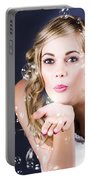 Playful Bride Blowing Bubbles At Wedding Reception Portable Battery Charger