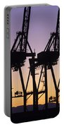 Port Of Seattle Cranes Silhouetted Portable Battery Charger