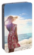 Pretty Young Woman Looking Out To Sea Portable Battery Charger