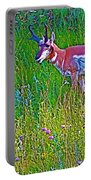 Pronghorn Among Wildflowers In Custer State Park-south Dakota Portable Battery Charger