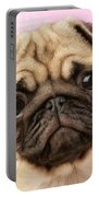 Pug Portrait Portable Battery Charger by Greg Cuddiford