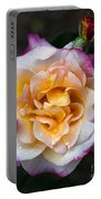 Raindrops On Rose Flower Portable Battery Charger