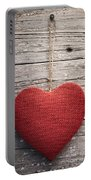 Red Burlap Heart On Vintage Table Portable Battery Charger