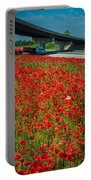 Red Poppy Field Near Highway Road Portable Battery Charger