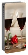 Red Wine And Roses Portable Battery Charger
