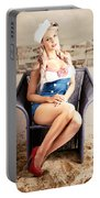 Retro Blond Beach Pinup Model With Elegant Look Portable Battery Charger
