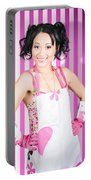 Retro Cleaning Service Maid With Smile Portable Battery Charger
