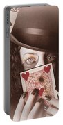 Retro Magician Holding Burnt Playing Card Portable Battery Charger