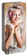 Retro Woman At Beauty Salon Getting New Hair Style Portable Battery Charger