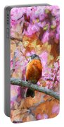Robin In A Red Bud Tree Portable Battery Charger