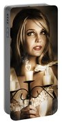 Romantic Blonde Woman Holding The Light Of Love Portable Battery Charger