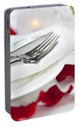 Romantic Dinner Setting With Rose Petals Portable Battery Charger