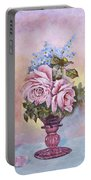 Roses In Ruby Vase Portable Battery Charger