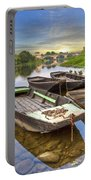 Rowboats On The French Canals Portable Battery Charger by Debra and Dave Vanderlaan