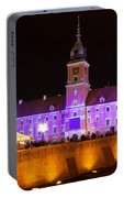 Royal Castle In Warsaw At Night Portable Battery Charger