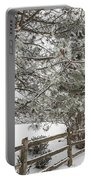 Rural Winter Scene With Fence Portable Battery Charger