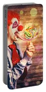 Scary Circus Clown At Horror Birthday Party Portable Battery Charger