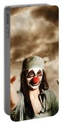 Scary Clown Doctor Throwing Knives Outdoors Portable Battery Charger