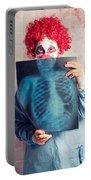 Scary Clown Peeking Behind X-ray. Funny Bones Portable Battery Charger