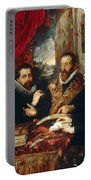 Selfportrait With Brother Philipp Justus Lipsius And Another Scholar Portable Battery Charger