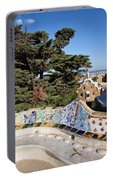 Serpentine Bench In Park Gueli In Barcelona Portable Battery Charger
