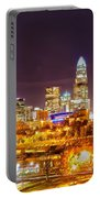 Skyline Of Uptown Charlotte North Carolina At Night Portable Battery Charger
