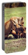 Small Lion Cubs With Mother. Tanzania Portable Battery Charger