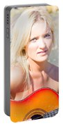 Smiling Female Guitarist Portable Battery Charger