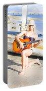Smiling Girl Strumming Guitar At Tropical Beach Portable Battery Charger