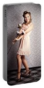 Smiling Retro Floral Girl In Elegant Pink Fashion Portable Battery Charger