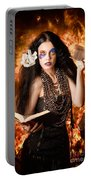 Sorcerer Casting Black Magic Spells Of Fire Portable Battery Charger
