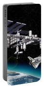 Space Station In Orbit Around Earth Portable Battery Charger
