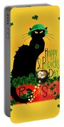 St Patrick's Day - Le Chat Noir Portable Battery Charger by Gravityx9 Designs