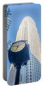 Standing By The Clock On City Intersection At Charlotte Downtown Portable Battery Charger