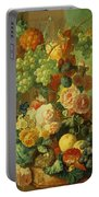 Still Life With Fruit And Flowers Portable Battery Charger