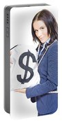 Successful Business Woman Holding Bags Of Money Portable Battery Charger