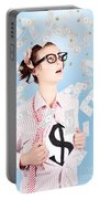 Successful Female Business Superhero Winning Money Portable Battery Charger