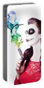 Sugar Skull Girl Blowing On Smoking Gun Portable Battery Charger