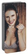 Summer Cafe Woman Eating Breakfast Cereal Portable Battery Charger
