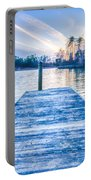 Sunset Over Lake Wylie At A Dock Portable Battery Charger