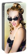 Surprised Pinup Girl On Tropical Beach Background Portable Battery Charger