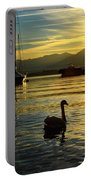 Swans In Sunset Portable Battery Charger