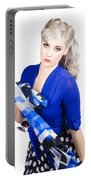 The Classic Pin-up Image. Girl In Retro Style Portable Battery Charger