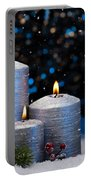 Three Silver Candles In Snow  Portable Battery Charger