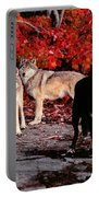 Timber Wolves Under  A Red Maple Tree Portable Battery Charger