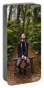 Travel Man Laughing In Tasmania Rainforest Portable Battery Charger
