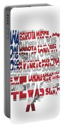 United States Typographic Map Flag Portable Battery Charger
