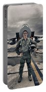 U.s. Air Force Pilot Standing In Front Portable Battery Charger