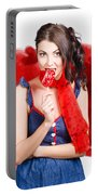 Valentines Day Woman Eating Heart Candy Portable Battery Charger