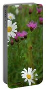 View Of Daisy Flowers In Meadow Portable Battery Charger